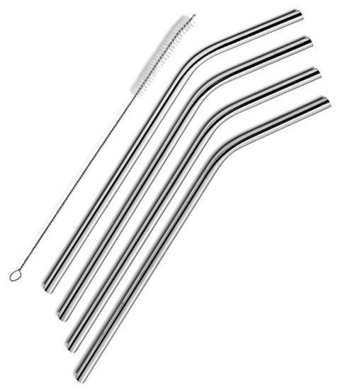 4 Pcs Stainless Steel Drinking Straw Cleaning Brush Included - SILVER