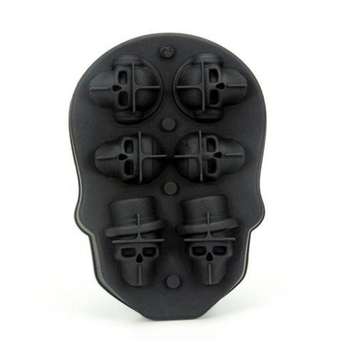 3D Skull Ice Cube Tray with Lid Gin Glasses Whiskey Scotch Cocktail - BLACK