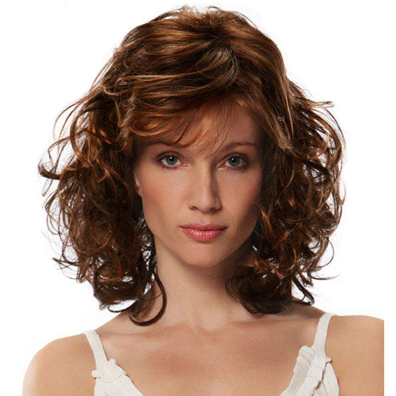 Gold Fluffy Slim Face Wig - BROWN 18INCH