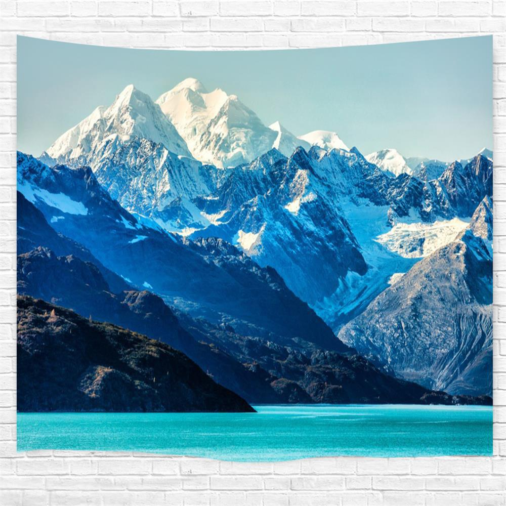 Glacier Bay Mountains 3D Printing Home Wall Hanging Tapestry for Decoration - multicolor W203CMXL153CM