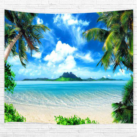 Blue Skycloudscoconut Tree 3D Printing Home Wall Hanging Tapestry for Decoration - multicolor W200CMXL180CM