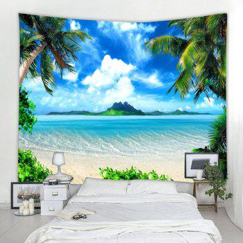 Blue Skycloudscoconut Tree 3D Printing Home Wall Hanging Tapestry for Decoration - multicolor W153CMXL102CM