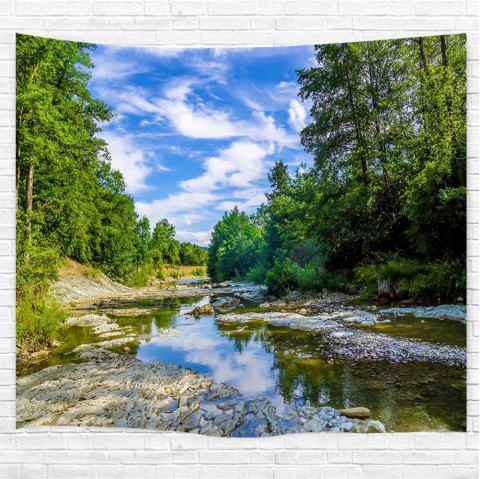 Blue Sky Forest River Printing Home Wall Hanging Tapestry for Decoration - multicolor W200CMXL180CM