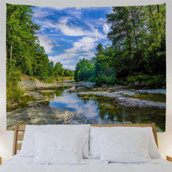Blue Sky Forest River Printing Home Wall Hanging Tapestry for Decoration - multicolor W153CMXL130CM