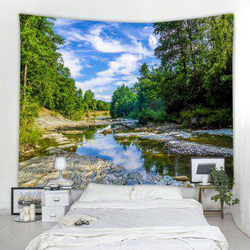 Blue Sky Forest River Printing Home Wall Hanging Tapestry for Decoration - multicolor W203CMXL153CM