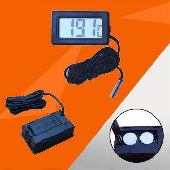 LCD Digital Thermometer Indoor Convenient Temperature with Instruments Probe - BLACK