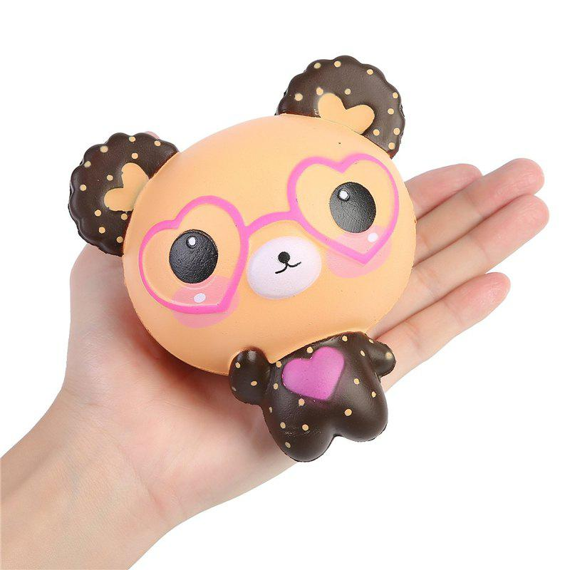 Jumbo Squishy Kawaii Cute Glasses Bear Cream Flavor Slowly Rising Squeeze Toy - multicolor