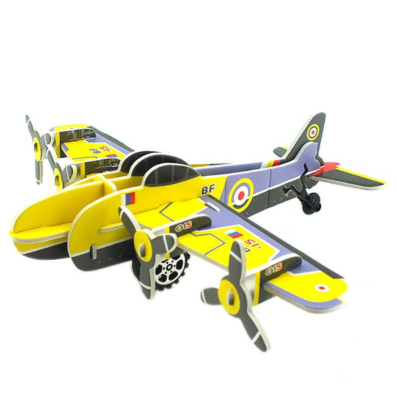DIY Children Stereo Simulation Yellow Airplane Model Puzzle - YELLOW