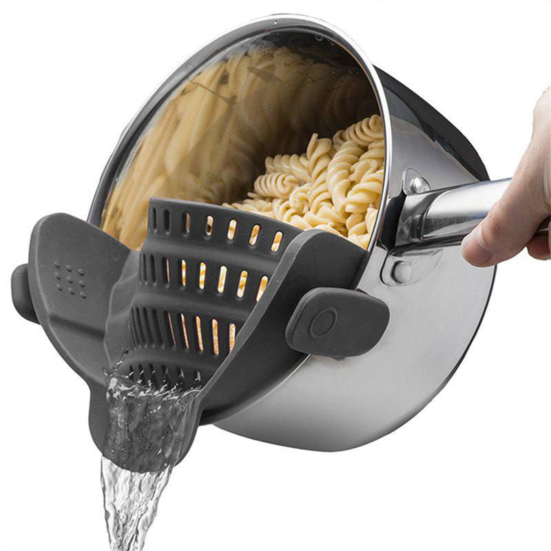 Kitchen Strainer Clip On Silicone Colander - ASH GRAY