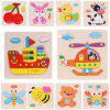 Wooden 3D Puzzle Jigsaw Kids Children Educational Toy - multicolor A