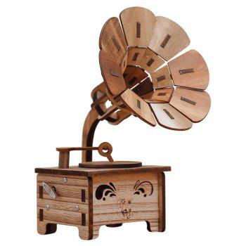 Creative Retro Nostalgia Phonograph Wind-up Music Box Toys - DARK SALMON