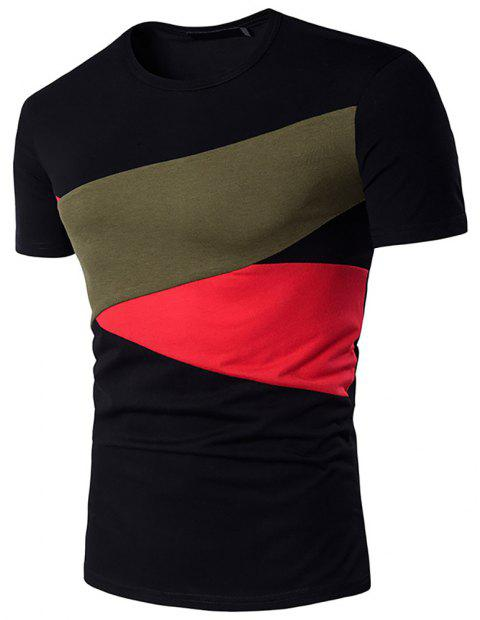 Men Hit Color Short Sleeve Casual   T-Shirt - BLACK M
