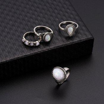 8PCS/SET Silver Plating Natural Gemstone Fire Opal Diamond Rings - SILVER ONE-SIZE