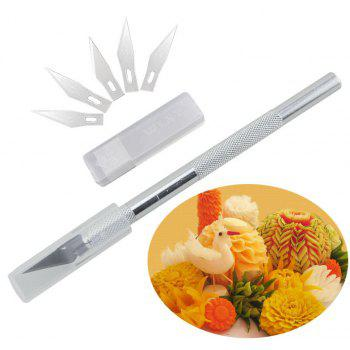 6pcs Blade Fruit Sculpting Knife Gum Paste Carving Cake Decorating Tools - SILVER