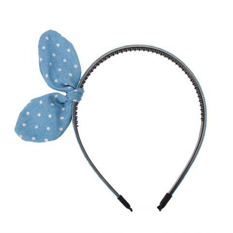 Vintage Blue Denim Fabric Bow Wash Headband - LIGHT BLUE