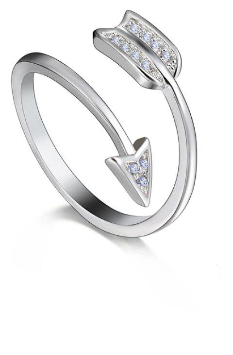 Silver Plated Crystal for Women Adjustable Engagement Ring Arrow - PLATINUM RESIZABLE