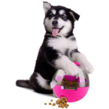 Treat Ball Dog Toy for Pet Increases IQ Interactive Food Dispensing Ball - ROSE RED