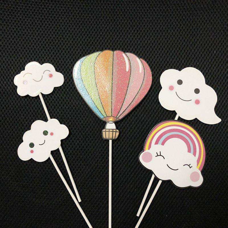 1 Set Cloud Colorful Hot Air Balloon Rainbow Baking Cake Decoration Flag - multicolor A