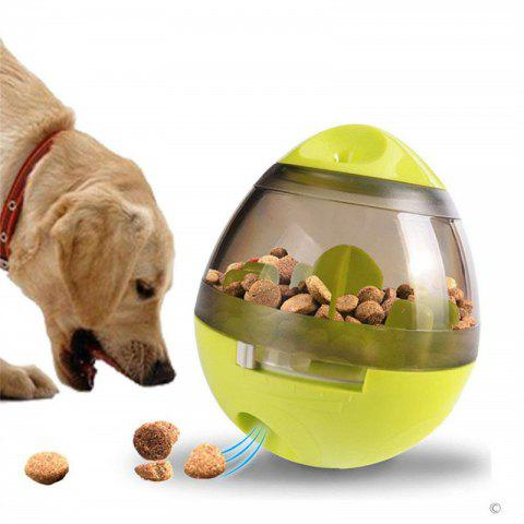 Pet Dog Tumbler Leakage Slow Food Feeder Ball Eating Prevent Choking Puzzle Toys - TEA GREEN