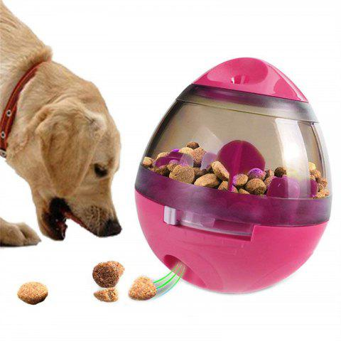 Pet Dog Tumbler Leakage Slow Food Feeder Ball Eating Prevent Choking Puzzle Toys - ROSE RED