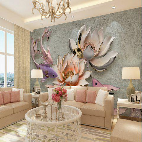 Mural / Papier peint Toile Wall Covering - Adhésif Required 3D Lotus Fish - multicolor SMALL