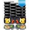 20 Pack Prep Container 2 Compartment Plastic Bento Lunch Box - BLACK