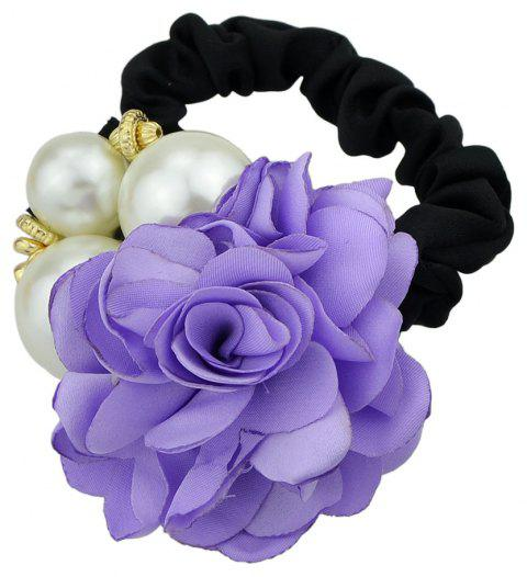Black Elastic Rope with Colorful Flower Headband - AZTECH PURPLE
