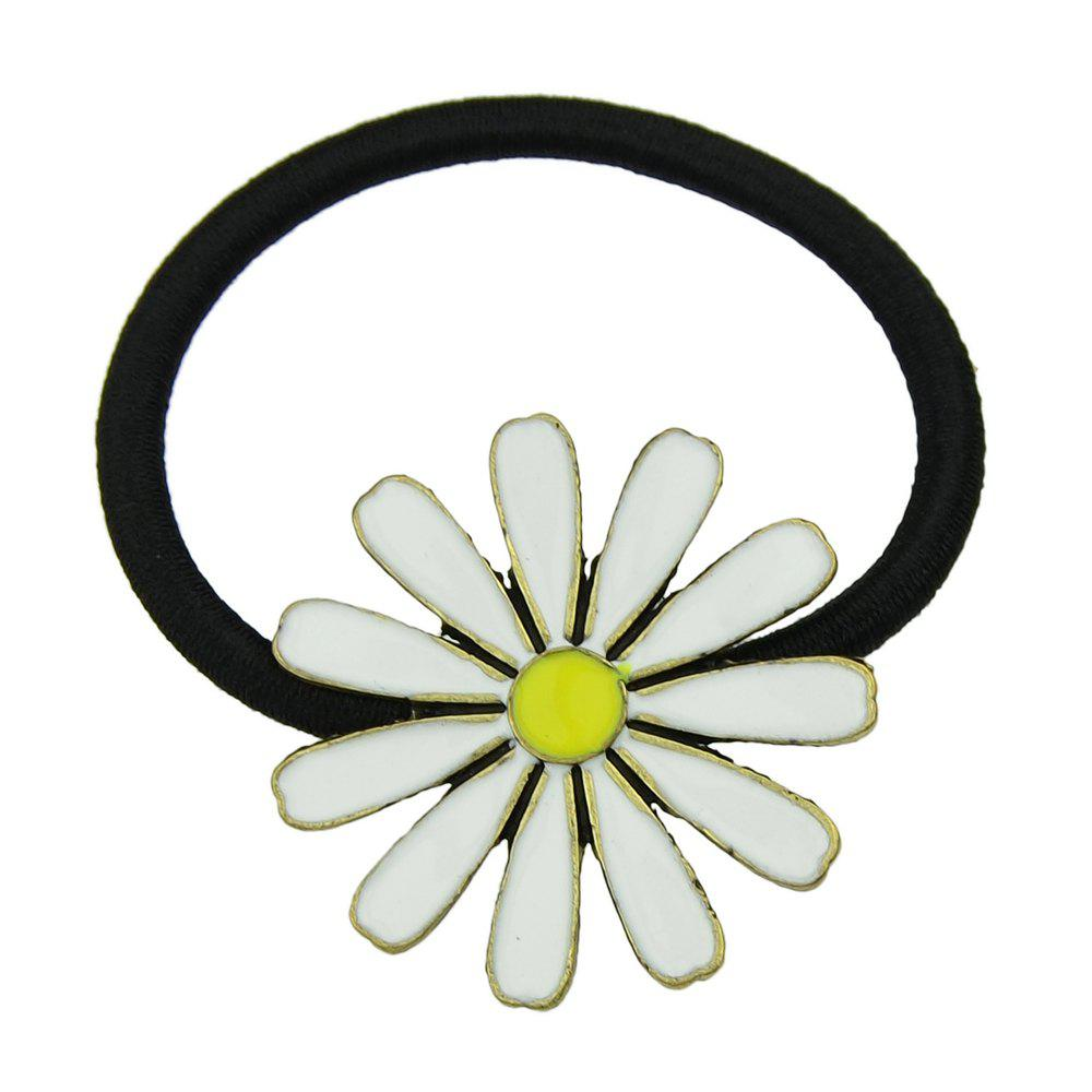 Elastic Rope with Colorful Enamel Flower Headband - WHITE