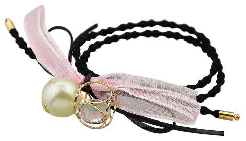 Black Elastic Colorful Bowknot Rhinestone Bead Charm Headband - LIGHT PINK