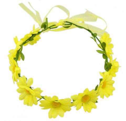 Colorful Sunflower Ribbon Wreath Hairband Wedding Hair Ornament - YELLOW