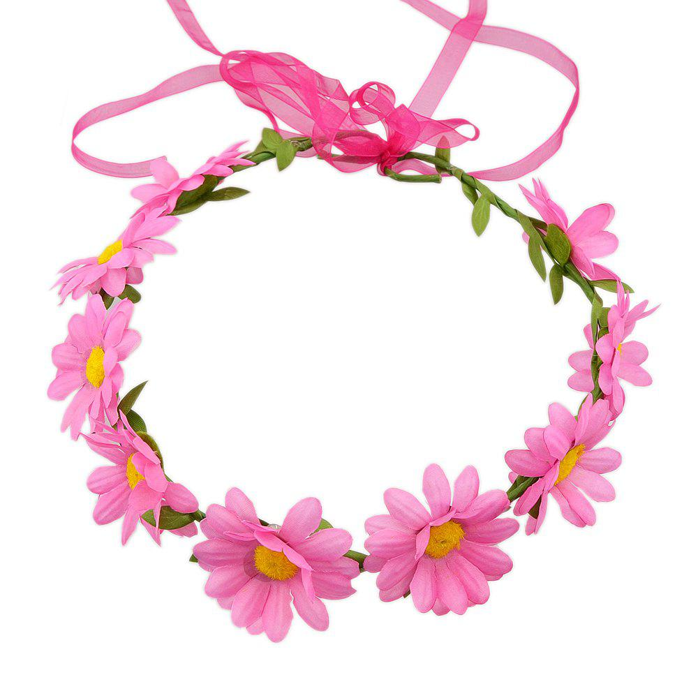 Colorful Sunflower Ribbon Wreath Hairband Wedding Hair Ornament - HOT PINK