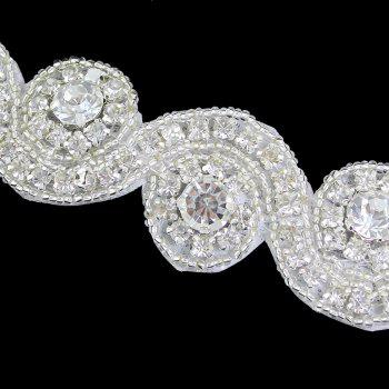 White Ribbon Rhinestone Flower Pattern Hairband - WHITE