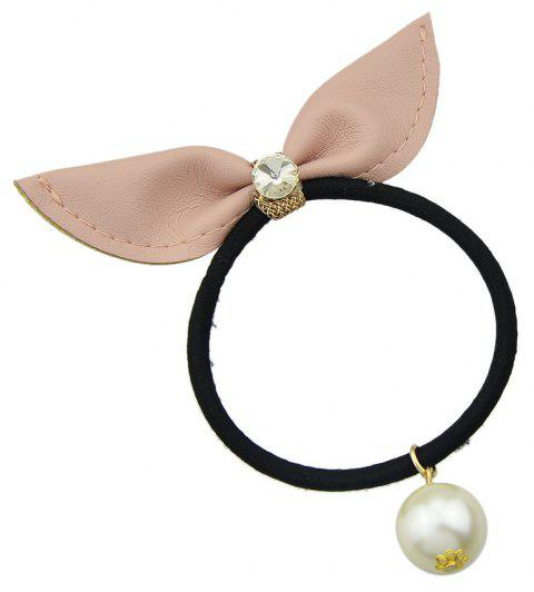 Black Elastic Rope Leather Bowknot Headband - PINK BUBBLEGUM