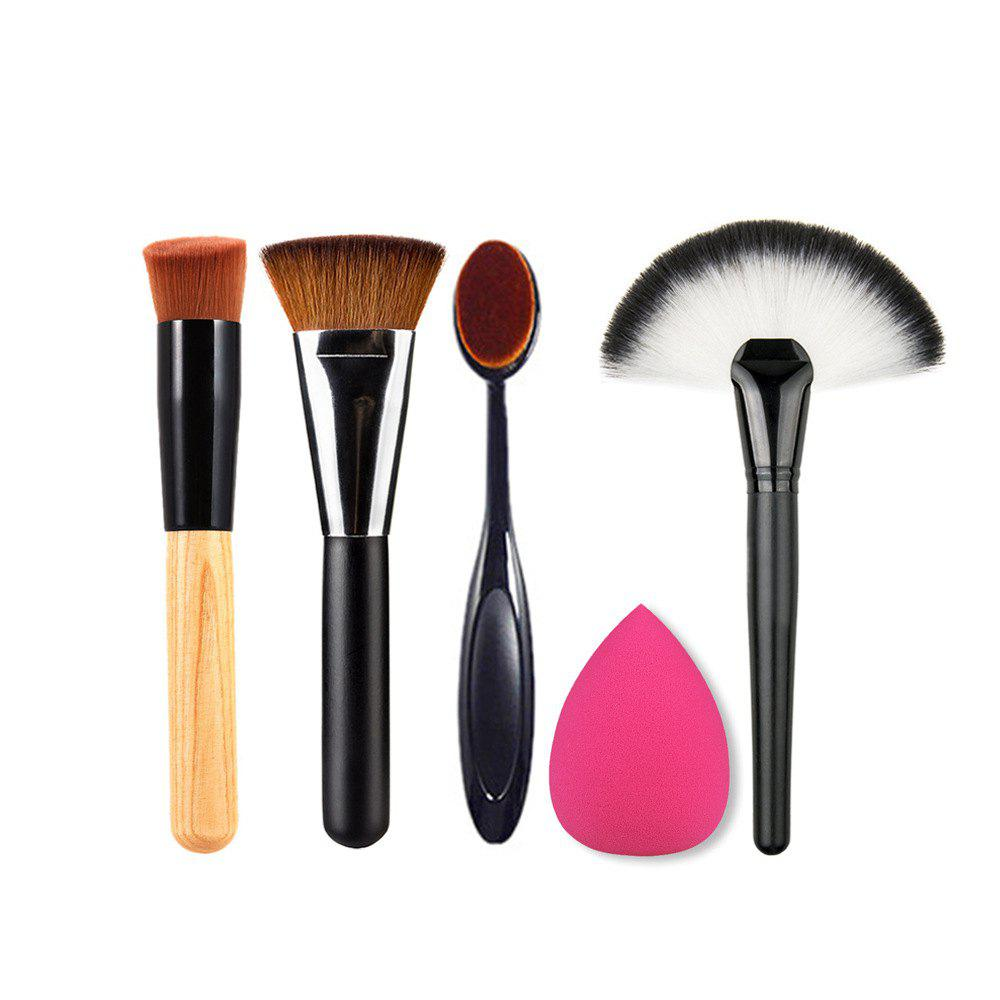 5PCS Eyeshadow Concealer Powder Makeup Brush Set Beauty Tool - multicolor A