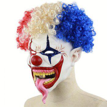 Halloween Explosion Head Big Mouth Long Tongue Clown Mask - multicolor
