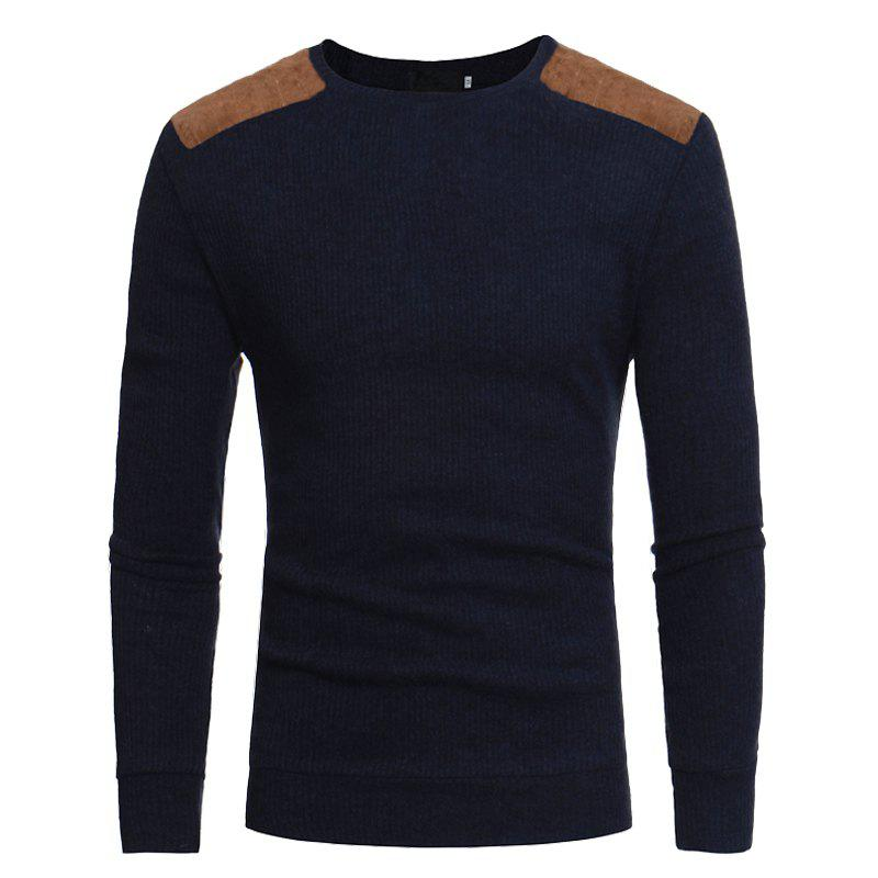 Men's Round Neck Casual Slim Knit Sweater - CADETBLUE 2XL