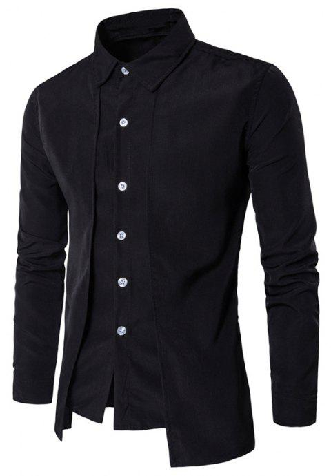 Men's Fake Two Pieces Long Sleeve Slim Fit Button Down Shirt - BLACK M