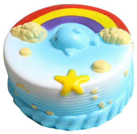 Jumbo Squishy Decompression Slow Rebound Toy Rainbow Small Whale Simulation Cake - POWDER BLUE