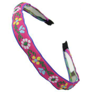 Ribbon Colorful Flower Pattern Hairband - ROSE RED