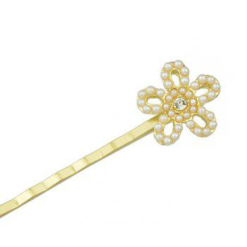 Gold Color Rhinestone Flower Hairpin for Wedding - GOLD