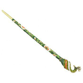 Court Colorful Enamel Peacock Long Hairpin - multicolor B