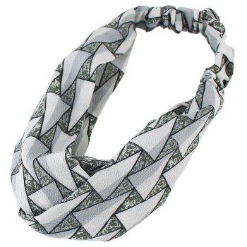 Polyester Geometry Printed Elastic Hairband - WHITE