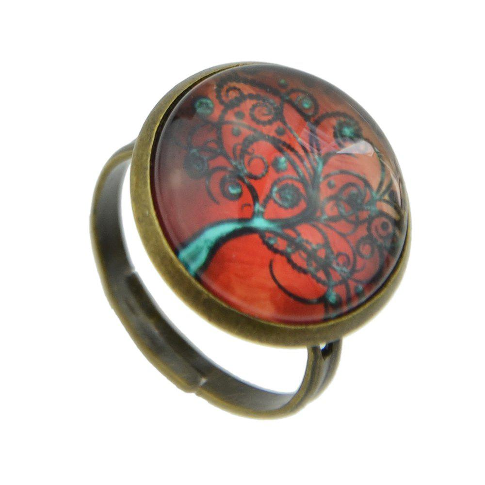 Vintage Big Printing Tree Ring for Women - CHILLI PEPPER RESIZABLE