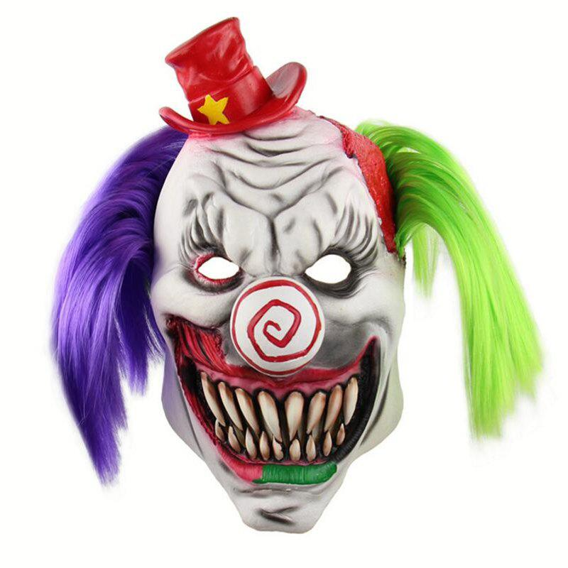 Halloween Scary Red Hat Clown Head Mask - multicolor