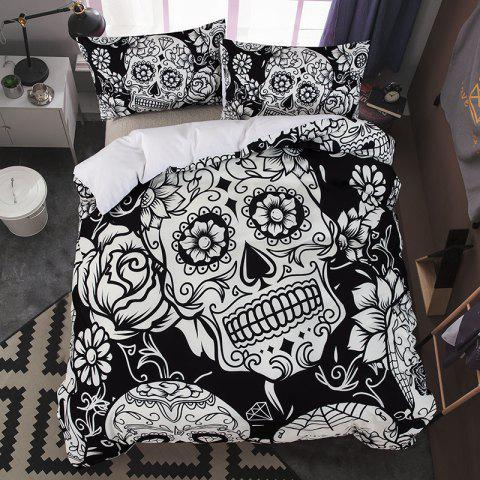 High-Quality Creative 3D Black and White Skull Three-Piece Suit - multicolor QUEEN