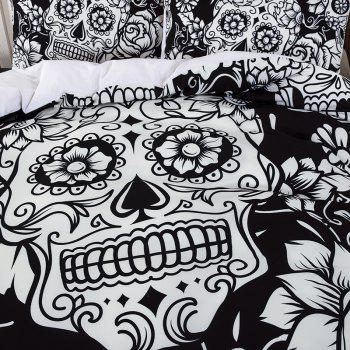 High-Quality Creative 3D Black and White Skull Three-Piece Suit - multicolor TWIN