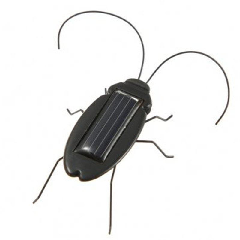 Educational Creative Solar Powered Cockroach Toy Gadget Gift - BLACK
