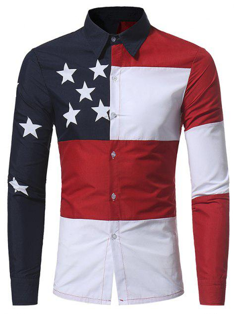 Men's Casual Color Matching Five-Pointed Star Printed Long-Sleeved Shirt 5223 - RED 3XL