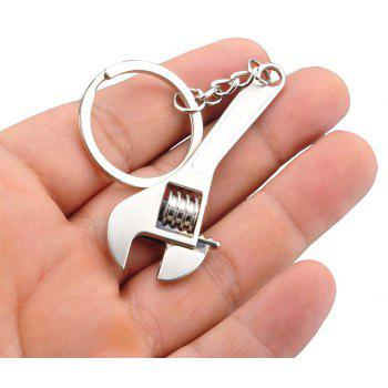 Silver Plated Changeable Spanner Keychain Wrench - SILVER