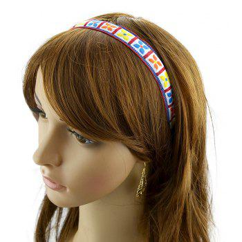Fashion Ribbon Colorful Flower Pattern Hairband - multicolor B